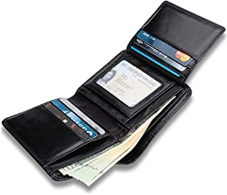 Men's Genuine Leather Wallet, High Quality Luxury Soft Smooth Genuine Leather Wallet Credit Card Slots with 9 Credit Cards Holder, 1 Clear ID Window, 6 Addition Slots (Black)
