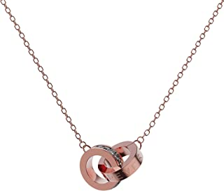 """SOOYINN 18K Rose Gold Plated Interlocking Double Circle Pendant Necklace With """"LOVE FOREVER"""" Text Engraved And Cubic Zirconia Decorated, Dainty Simple Chain Pendant Necklace for Women and Girls 16-18"""""""