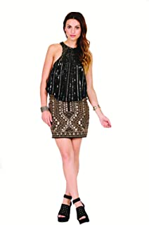 Raga 'Tribal Dreams' Black and Silver Studs Embroidered Boho Skirt for Women