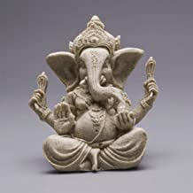 Resin Elephant Statue Sculpture Sandstone Ganesha Buddha Handmade Collectible Figurine for Home Office Room Decor