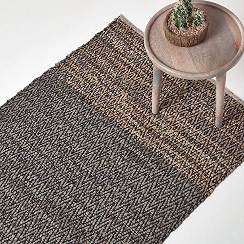 Homescapes Teppich aus 100% recyceltem Leder mit Chevron-inspiriertem Zickzack- und Rautenmuster, 120 x 180 cm, grau