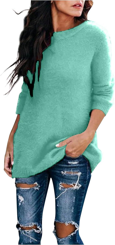 Womens Fleece Warm T Shirt Blouse Tops Casual Long Sleeve Round Neck Sweater Knitwear Pullover Jumper Tees