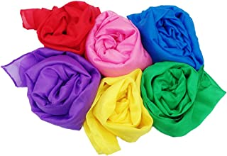 Play Scarves + Storage Bag for Easy Clean Up : Perfect for Kids Pretend and Creative Play Dress Up and Childhood Fun 35 Large Bundle of 6 Bright Colored Silks by Simply Sweet Fabric