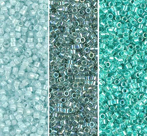 Miyuki Delica Seed Beads Bundle: Size 11/0, Seafoam Mist Collection - DB078, DB079, DB084-3 Tubes of 7.2 Grams ea