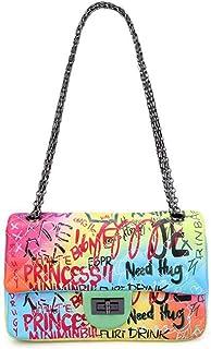 Pu shoulder bag, color messenger bag, graffiti female bag, candy color small square bag, diamond chain bag, adjustable shoulder strap, can accommodate mobile phones