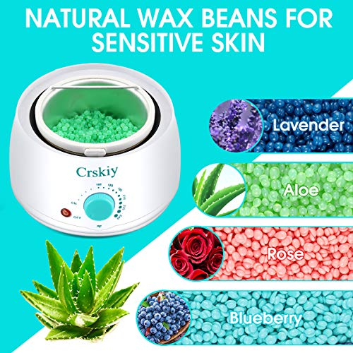 Waxing Kit for Women Men, Crskiy Wax Warmer Hair Removal Kit, with 4 Flavors Hard Wax Beans(14.1oz), Home Wax Kit with Multiple Formulas, for Coarse Hair, Eyebrow, Armpit, Bikini, Brazilian