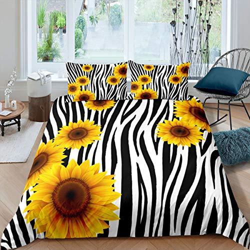Girl Sunflower Duvet Cover Single Size, Abstract Black White Stripe Bedding Set Soft Comfortable Flower Print Comforter/Quilt Cover for Women,Decor 2 Pcs Bedding Set (1 Duvet Cover 1 Pillowcase)