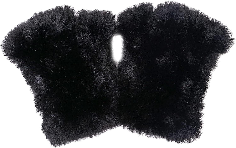 CECELORIA Faux Fur Fingerless Gloves & Mitten - Soft Winter Gloves, Rex Rabbit Effect Furry Gloves for Women