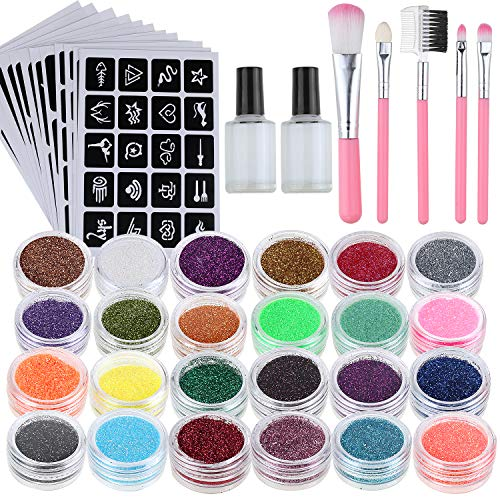 Lictin Glitzer Tattoo Temporäre Tattoo Set Make Up Körper Glitzer mit 24 Glitzertuben 117 Schablonen Neues Glitzer Tattoo Set für Kinder und Erwachsene