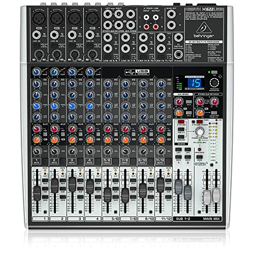 Behringer XENYX X1622USB 16-Kanal 2/2 Bus Mischpult mit XENYX Mic Preamps, 1-knob Kompressoren, 24-bit Multi-FX und USB Audio Interface