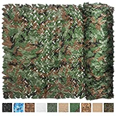 Camo Netting, 6.5ftx5ft/2mx1.5m woodland camouflage netting. Green and brown coloring design, allowing excellent viewing of the surrounding terrain while providing maximum concealment in the field. Can easily be cut and joined with cable ties as pict...
