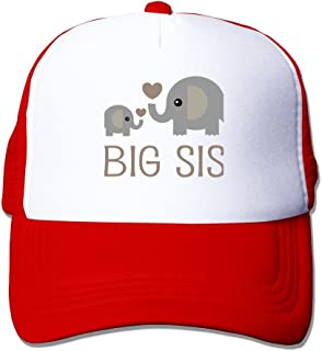 NVJUI JUFOPL Girls Elephant Big Sister Mesh Trucker Baseball Cap Hat 4-13 Years Old