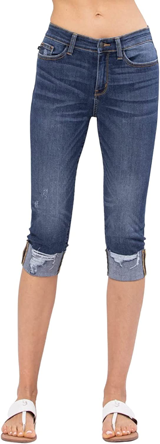Judy Blue Destroyed Cuffed Medium Wash Mid-Rise Skinny Capris! Your New Favorite Capris! (Style: 82250)
