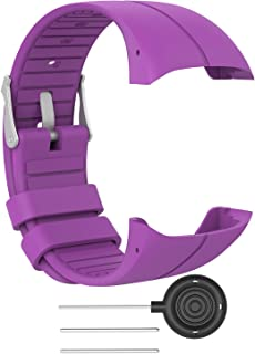 RuenTech Bands Compatible for Polar M400 Watch Strap Replacement Soft Silicone Wristband Sports Band Compatible with Polar M400 and M430 GPS Smart Sports Watch (Purple, M(5.5''-8.0''))