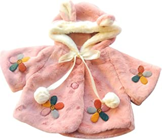 Queen's Landing Cute Pink Flower Faux Fur Toddler Girl Cape Coat with Rabbit Ear Hood