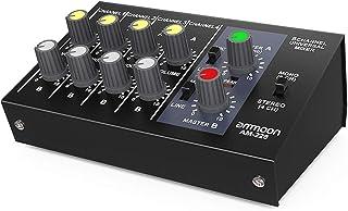 ammoon Mezclador de Sonido Ultra Compacto Ruido Bajo 8 Canales Metal Mono Estéreo Audio con Cable de Adaptador de Corriente