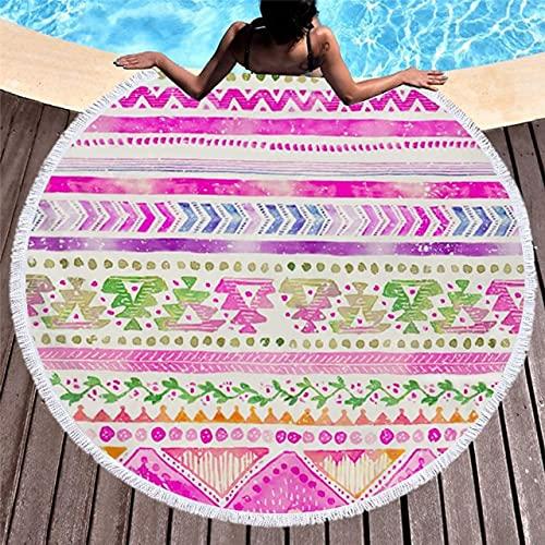 IAMZHL Toalla de Playa Redonda de Microfibra de 150 cm, Manta de Picnic, Deporte al Aire Libre portátil, Regalo para niños, Estera de Yoga-a1-150x150cm
