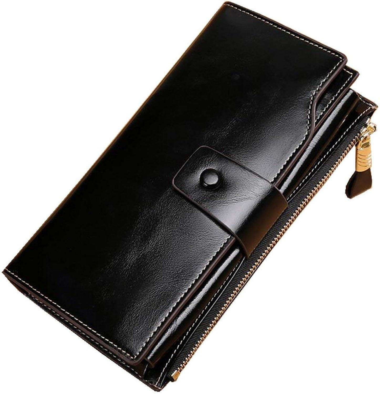 Ladies Handbag Women's Blocking Wax Genuine Leather Clutch Wallet Card Holder Organizer Ladies Purse for Girls (color   Black 2)