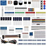 Keywishbot Electronic Component Base Fun Kit Bundle with Breadboard Cable Resistor,Capacitor,LED,Potentiometer Development Board,MEGA2560,for Arduino, Raspberry Pi