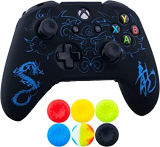 9CDeer 1 x Silicone Laser Carving Protective Cover Skin + 6 Thumb Grips for Xbox One S/X Controller Loong Blue