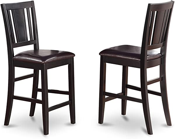 East West Furniture BUS BLK LC Counter Height Chair Set With Faux Leather Upholstered Seat Black Finish Set Of 2