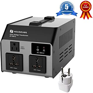 HOUSEYAS 500 Watt Voltage Transformer Converter [SEYAS Upgraded Version], Auto Step Up & Step Down, 110-120 to 220-240 Volts, W/Extra Surge Protection, Circuit Breaker Protection, Soft Start Function