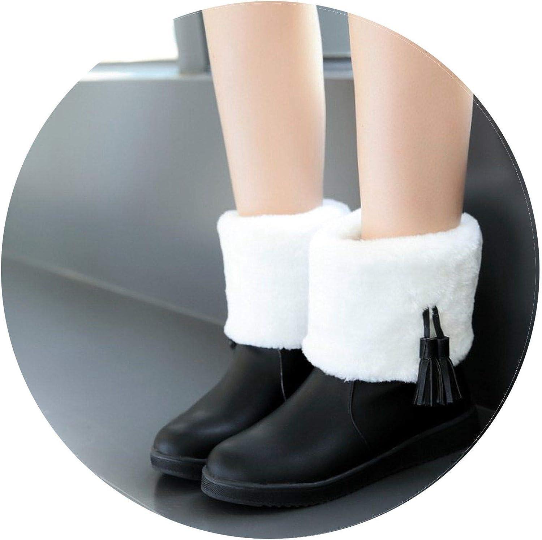 Summer-lavender Women's Winter shoes Snow Boots Tassel PU Leather Plus Velvet Flat Boots Short Boots