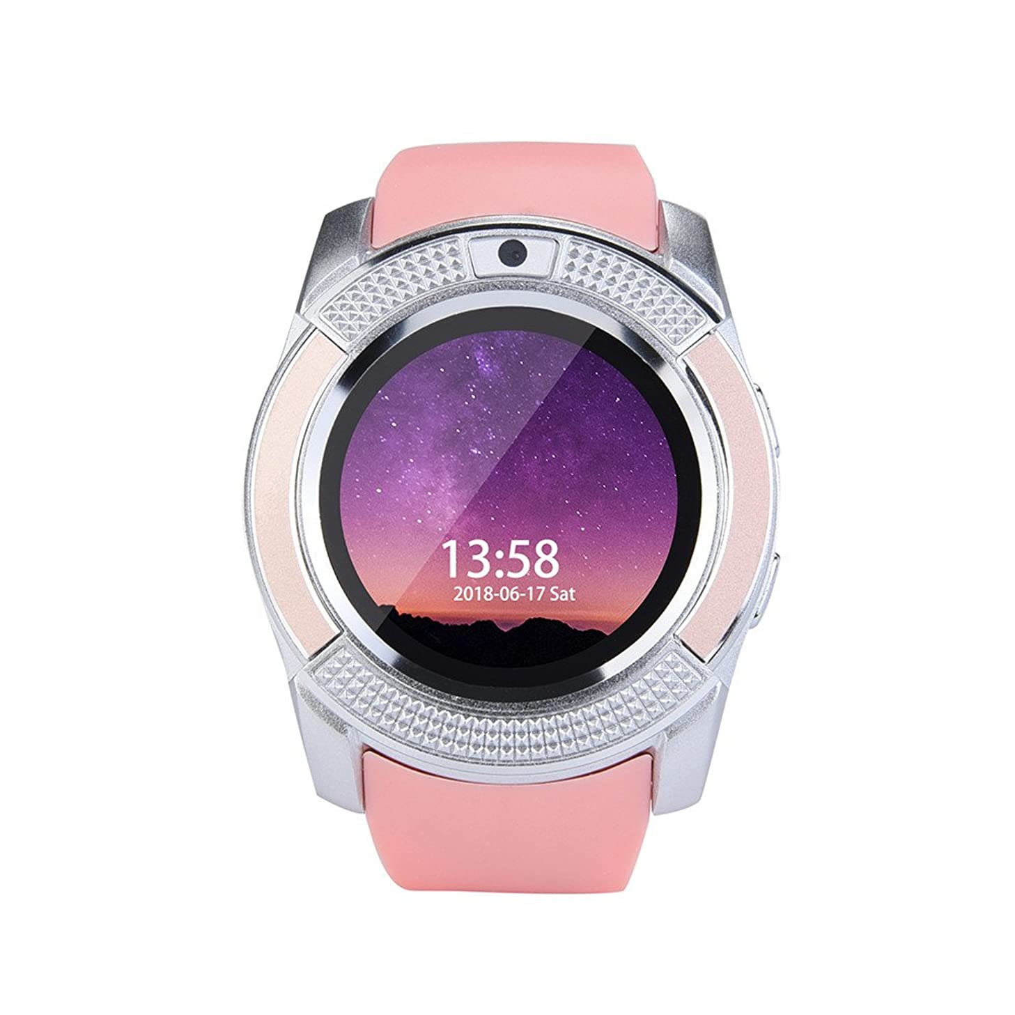 NXDA 2018 V8 Kids Digital Anti-Lost Smart Watch Wrist Watch GSM 2G SIM Phone Mate For IOS Android Smartphone The Safest Guarantee for Your Kids (Pink)