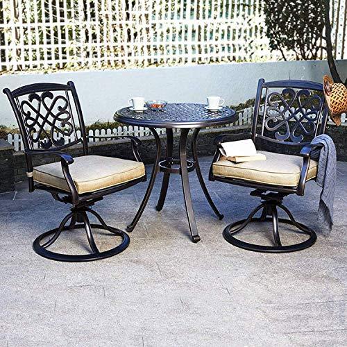 dali 3 Piece Bistro Set, Cast Aluminum Dining Table Patio Glider Chairs Garden Backyard Outdoor Furniture