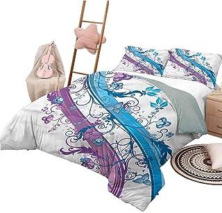 Funda nórdica Estampada Colcha de Dormitorio Liviana Abstracta de tamaño Completo para Todas Las Estaciones Rayas con Flores Silvestres