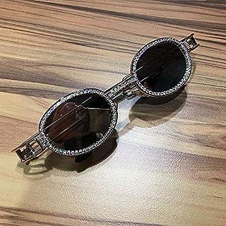 TYJYY Lunettes de soleil Hip Hop Retro Small Round Sunglasses Women Vintage Steampunk Sun Glasses Men Clear Lens Rhineston...