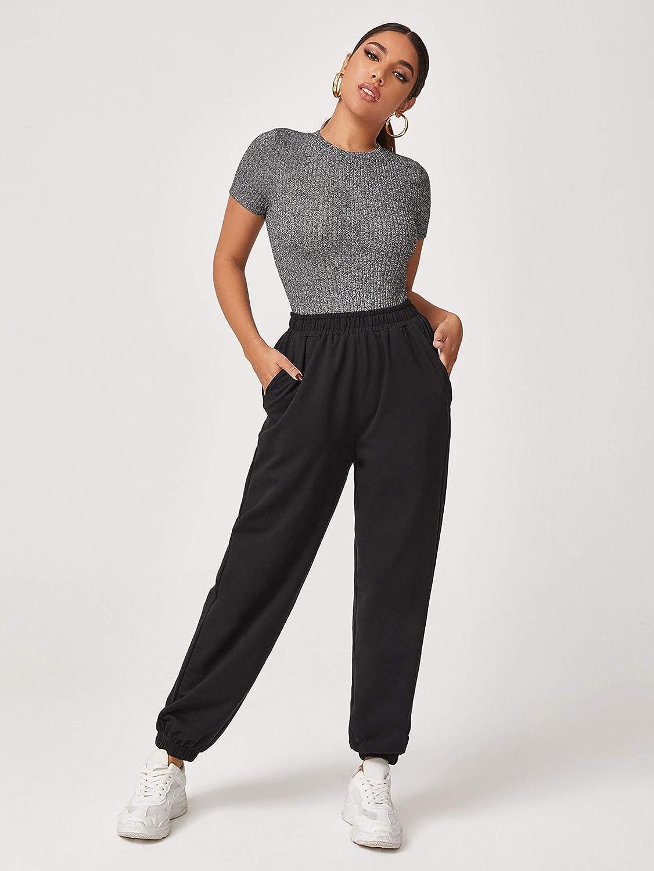 Floerns Women's Solid Rib Knit Short Sleeve Round Neck Basics Bodysuit Leotard