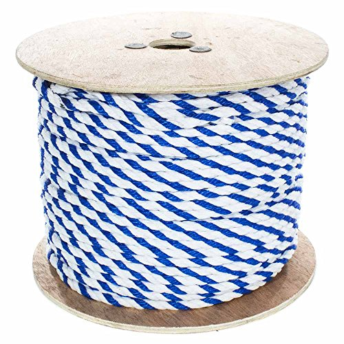 West Coast Paracord Twisted Polypropylene Pool Rope - 3 Strand Polypro Cord - Lightweight Utility Rope for Safety Lines, Pool Lanes - Blue and White (1/2 Inch x 100 Feet)