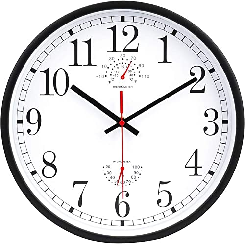 new arrival 12 Inch Indoor Wall Clock with online Thermometer and Hygrometer Non-Ticking Silent Battery outlet sale Operated Round Wall Clock sale