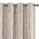 Cortinas opacas con diseño geométrico con ojales en la parte superior de la habitación, cortinas de oscurecimiento térmico de 241,3 cm de largo, color café