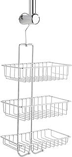 WENKO Serviteur de douche Nivala - étagère de douche avec 3 étagères, 2 crochets, Acier, 22 x 50 x 13.5 cm, Chromé