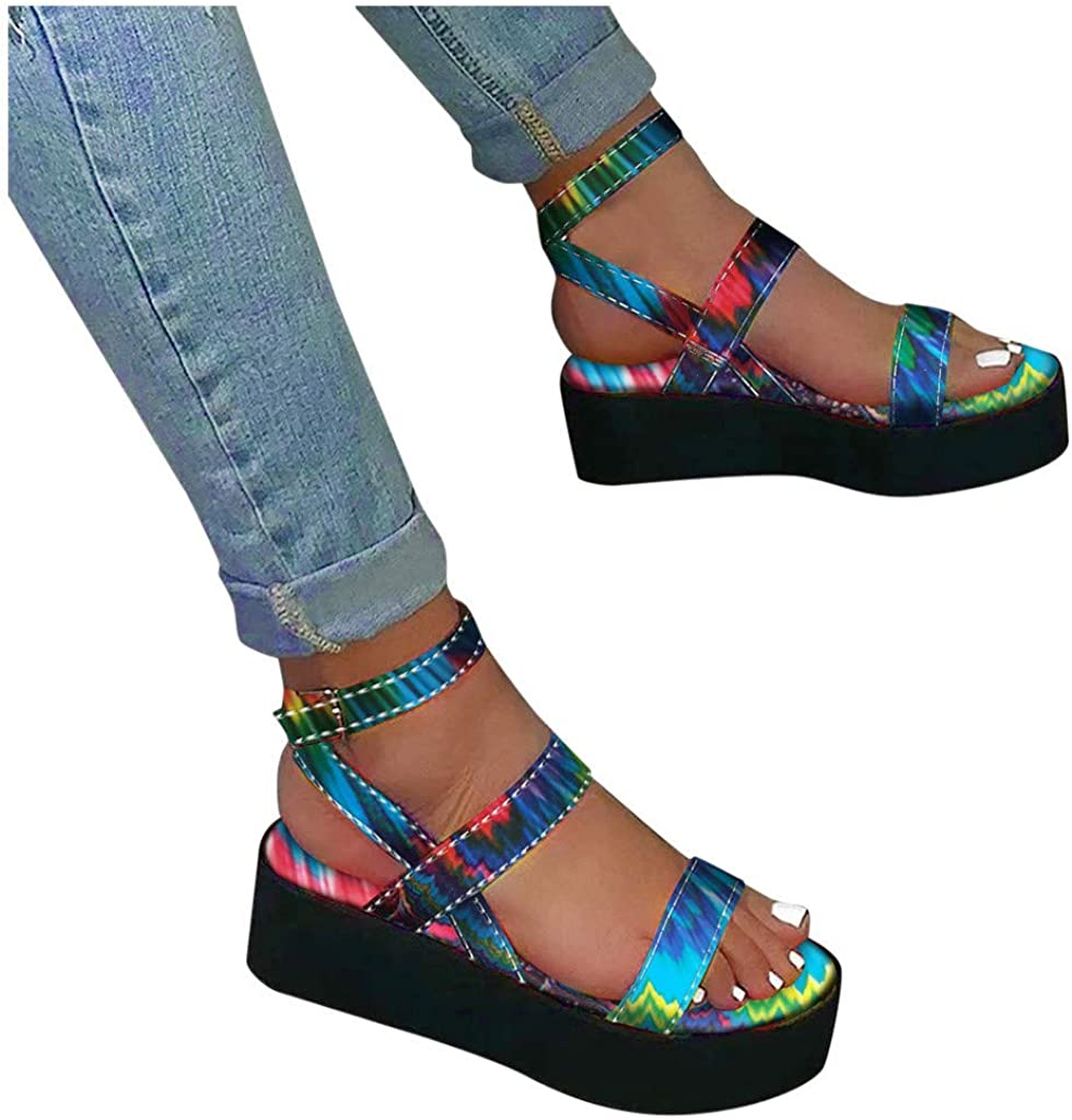 Xinantime Womens Max 75% OFF Gradient Ranking TOP2 Color Open Buc Platform with Toe Flats