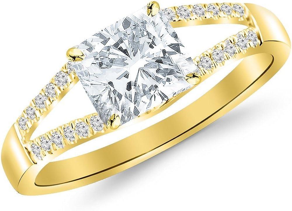 1 Bargain sale Super intense SALE Carat 14K White Gold Curving Ri Diamond Shank Engagement Split