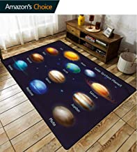 TableCoversHome Educational Plaid Area Rug, Solar System Planet Pattern Printing Carpet, Durable Carpet Area Rug - Living Dinning Room Bedroom Rugs and Carpets (2'x 6')