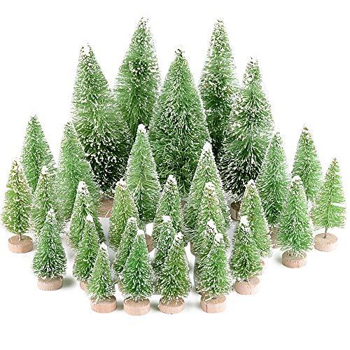 MEJOSER 30 Stück 4 Größen Künstlicher Weihnachtsbaum Miniatur Klein Tisch Christmasbaum Mini Grün Tannenbaum mit Schnee-Effek Mini Weihnachts Baum Dekoration Geschenk Tischdeko, DIY, Schaufenster