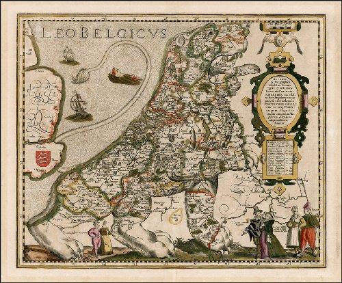 Leo Belgicus reproducción mapa de Bélgica Holanda y Luxemburgo por Petrus Kaerius 1617, 23,25 x 73,03 cm