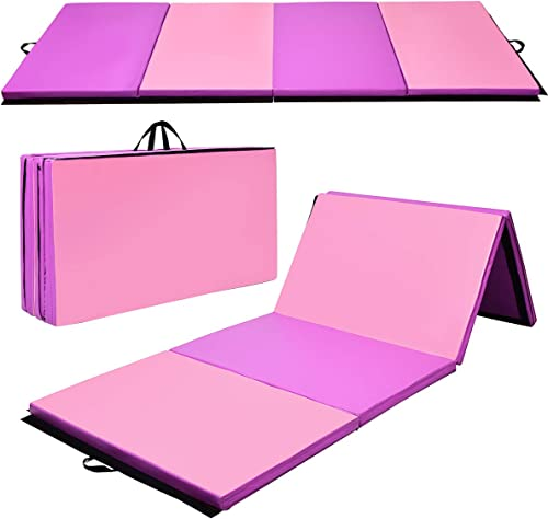 lowest Giantex Gymnastics Mat, Folding Anti-Tear Gymnastics Panel Mats w/Carrying Handles, Hook and Loop Fastener, Lightweight Tumbling outlet online sale Mat, Folding Gymnastics online Mats for Home Fitness, Exercise, Aerobics, MMA online