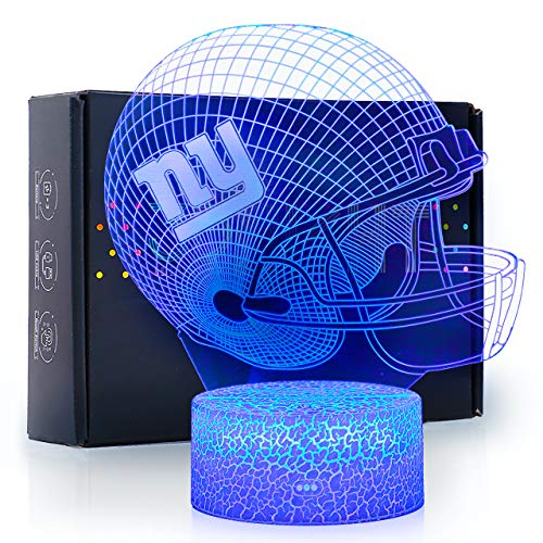 Bigfoot 3D LED Night Light Football Helmet Giants Flat Acrylic Illusion Lighting Lamp with 7 Colors and Touch Sensor, Sports Fan Nightlight Gift for Kids, Boys, Girls, Men or Women