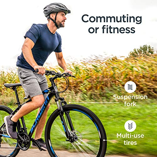 Schwinn GTX 2.0 Comfort Adult Hybrid Bike, Dual Sport Bicycle, 18-Inch Aluminum Frame, Black/Blue