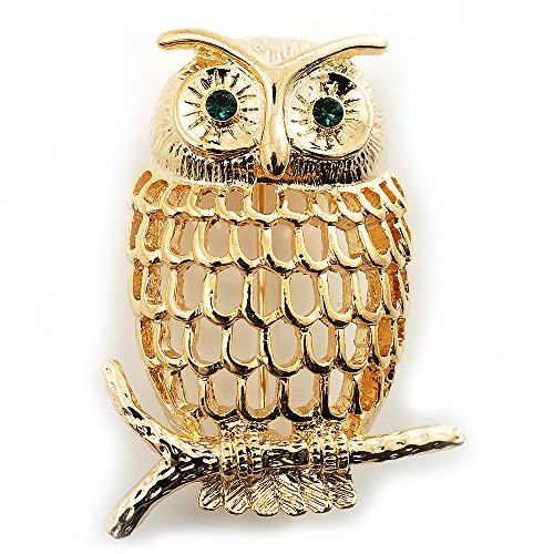 Avalaya Gold-Tone Wise Filigree Owl Brooch