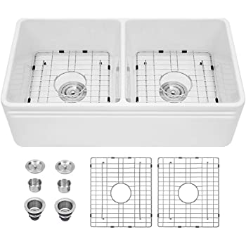 Whitehaus Wh3018 Bl Duet Series 30 Inch Reversible Fireclay Sink With Smooth Front Apron Single Bowl Sinks Amazon Com