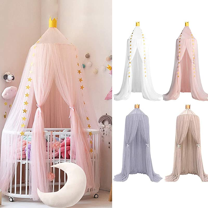 Hoomall Bed Canopy Princess Kids Girls Mosquito Net Round Lace Dome Princess Play Tent Bedding For Baby Kids Children S Room 240cm Pink 2019