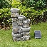 Peaktop Fuente de Agua de energía Solar Adorno de Piedra de jardín con Luces PT-SF0006