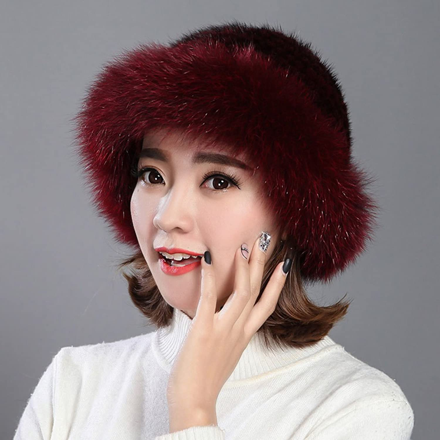 ZHANGRONG- Hat Winter Keep Warm Ms Braided Hat Windproof Cold 6 colors -Winter outdoor warmth (color   Wine red)