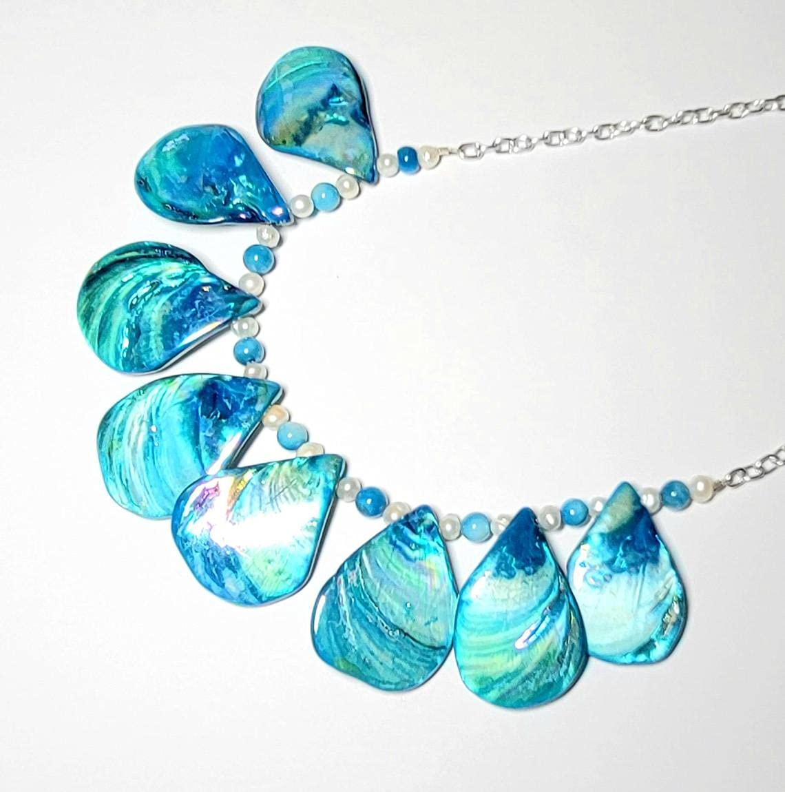 Blue Shell Challenge the lowest price of Japan Necklace Nippon regular agency Beach Jewelry for Florida Souven Gift Her